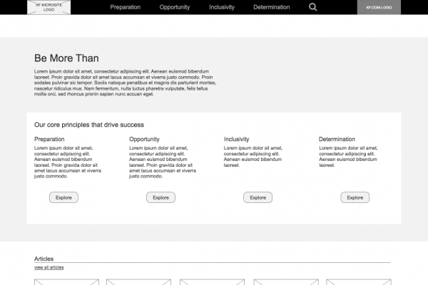 Be more than homepage wireframe