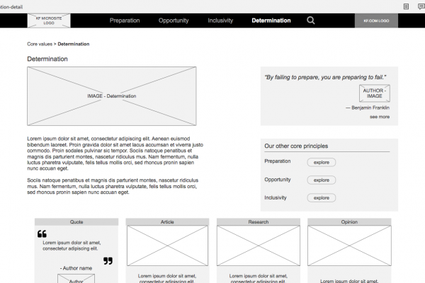 Be more than determination wireframe